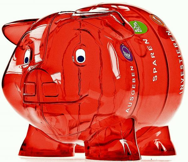 Kinder-Cash Schwein rot 3 Sprachen