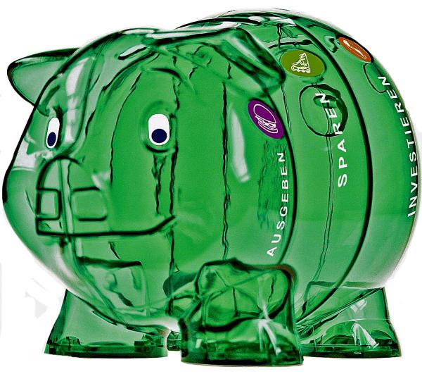 Kinder-Cash Schwein grün 10 Sprachen
