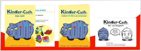 Hefte und Ebook zum Sparschwein