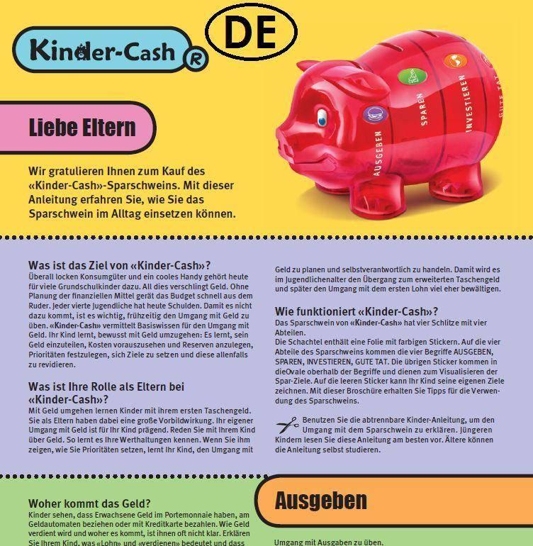Anleitung Sparschwein und Taschengeld