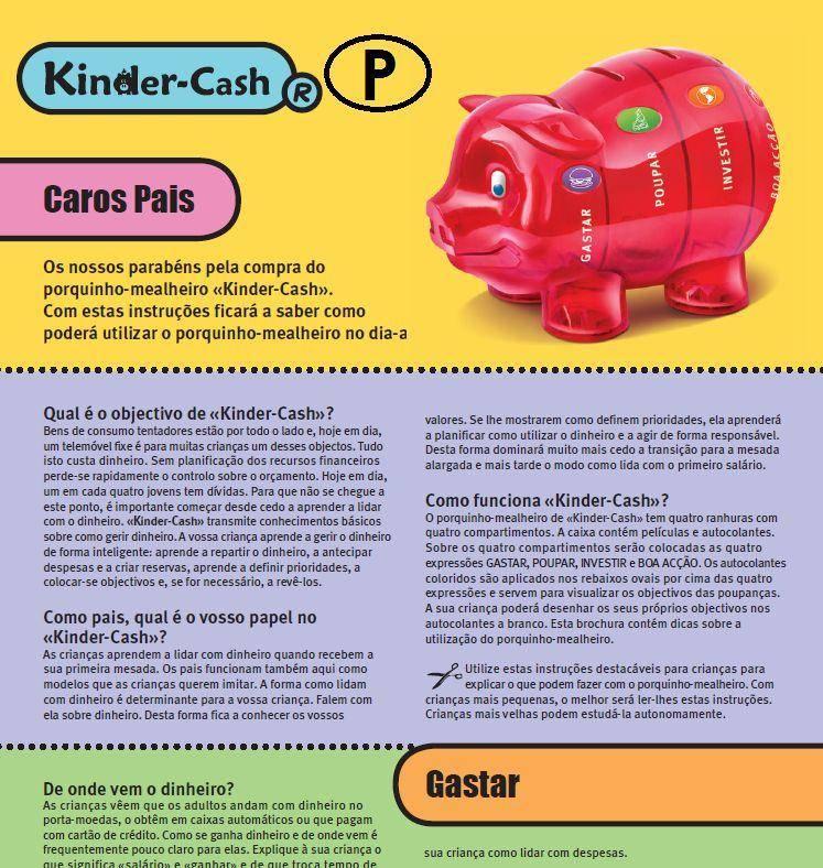 caixa de dinheiro instruciones pais