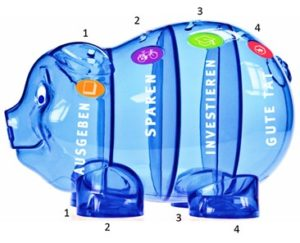 Sparschwein blau, durchsichtig mit vier getrennten Abteilen