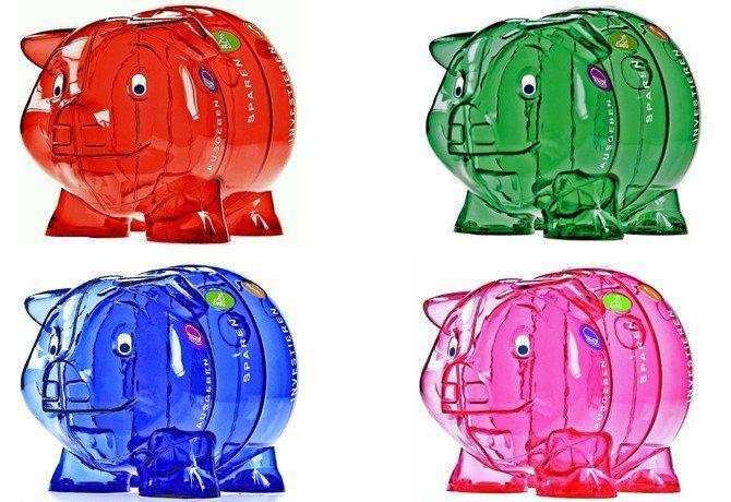 Taschengeld Sparschweine für Kinder mehrfarbig