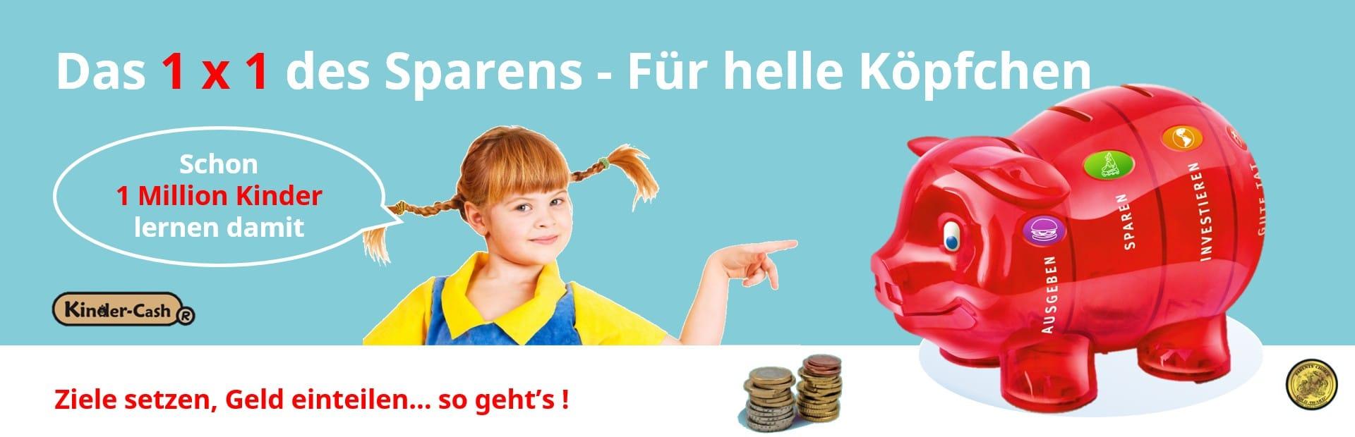 Kinder lernen mit dem Sparschwein von Kinder-Cash