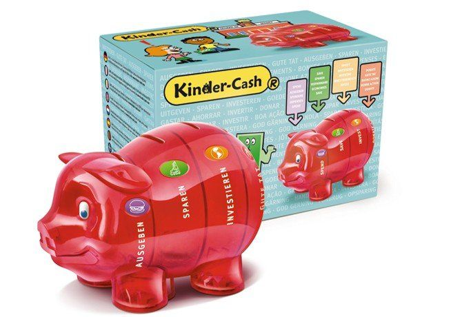 Sparschwein für Kinder mit Box rot