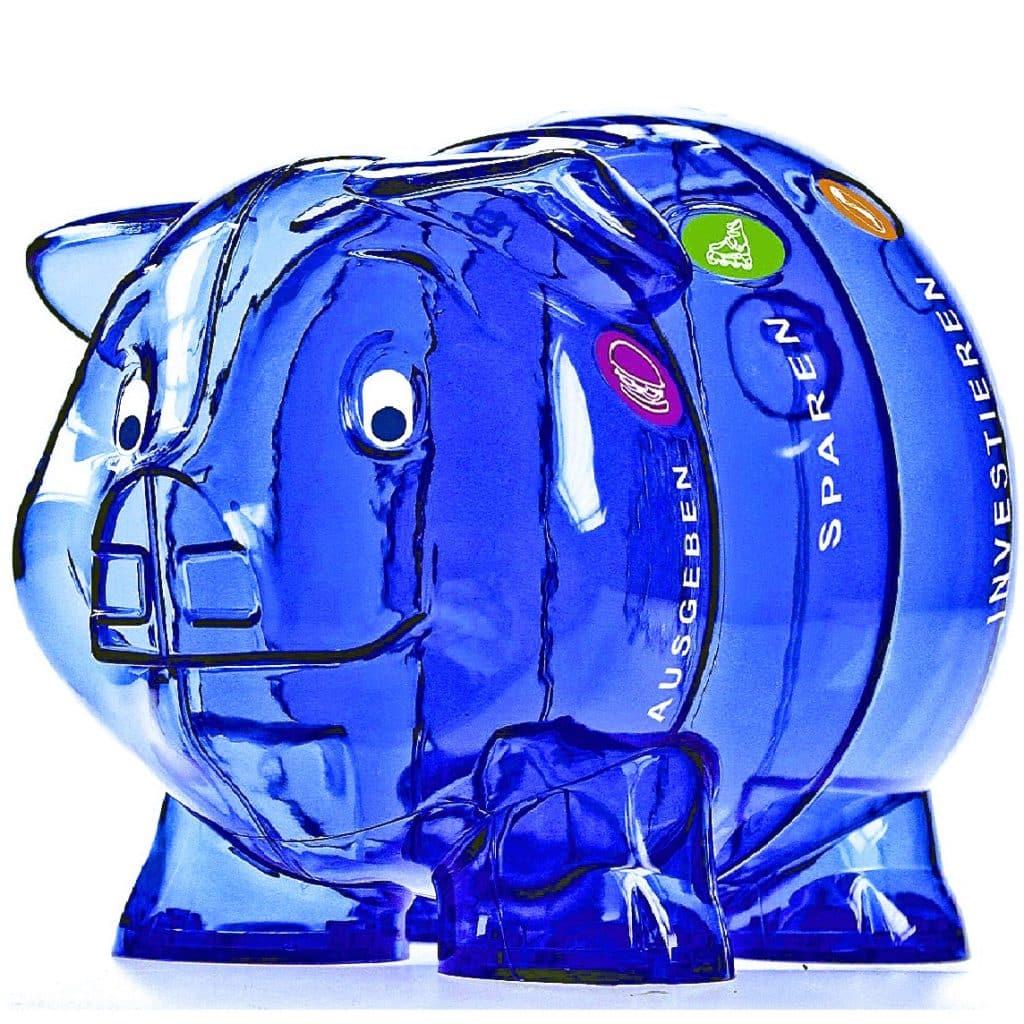 Sparschwein groß blau und mit vier Abteilen