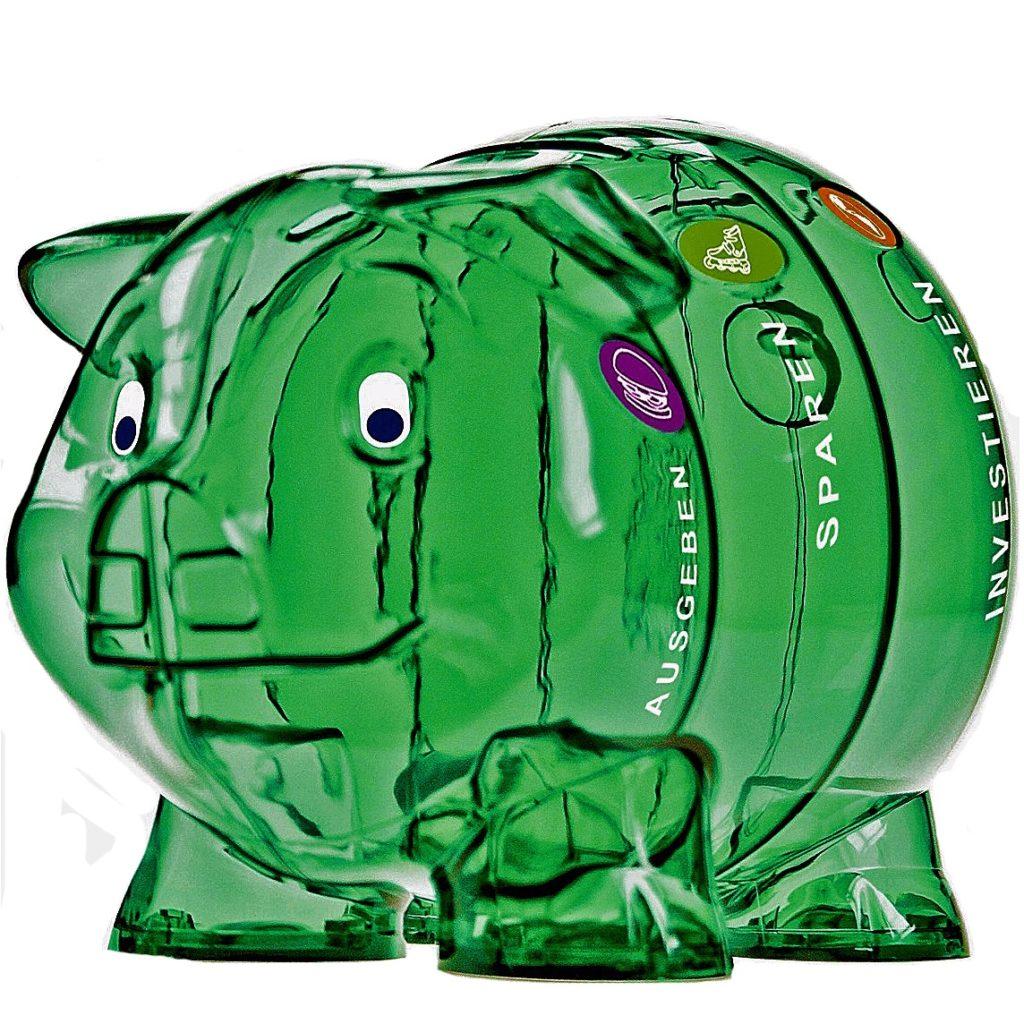 Sparschwein, grün, gross mit vier Faechern