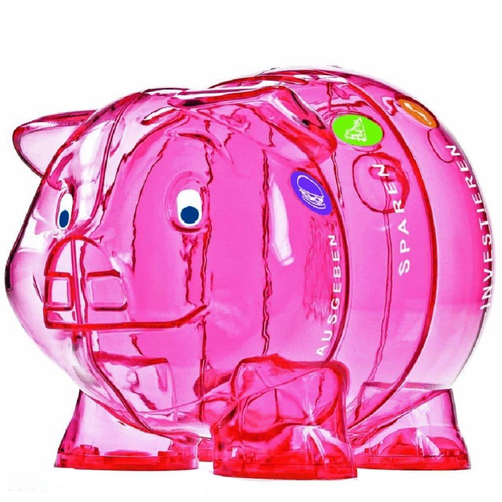 Spardose groß rosa durchsichtig