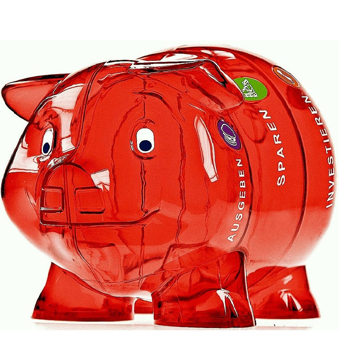 Sparschwein spardose gross durchsichtig mit vier Abteilen rot