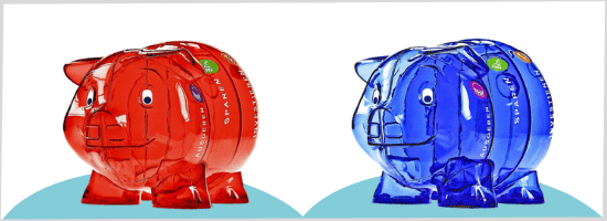 Sparschwein rot und blau